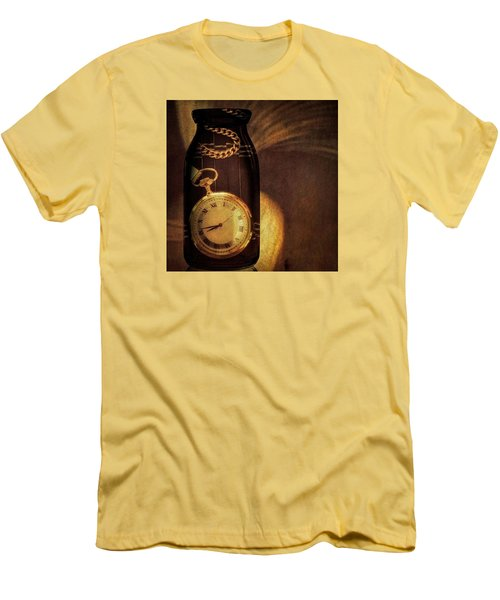 Antique Pocket Watch In A Bottle Men's T-Shirt (Slim Fit) by Susan Candelario