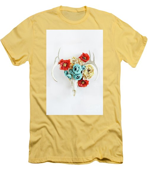 Men's T-Shirt (Slim Fit) featuring the photograph Antlers And Florals by Stephanie Frey