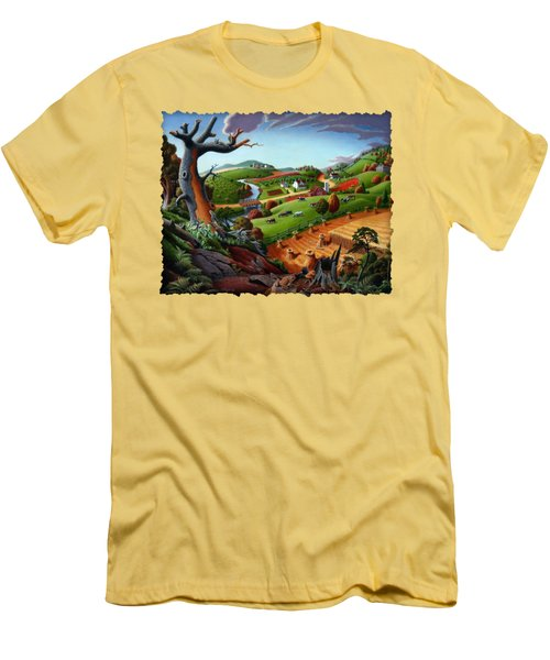 Appalachian Fall Thanksgiving Wheat Field Harvest Farm Landscape Painting - Rural Americana - Autumn Men's T-Shirt (Slim Fit) by Walt Curlee