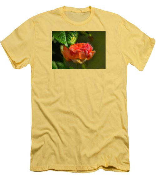 Artistic Rose And Leaf Men's T-Shirt (Slim Fit) by Leif Sohlman
