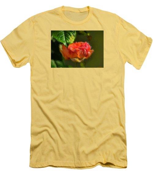 Artistic Rose And Leaf Men's T-Shirt (Slim Fit)