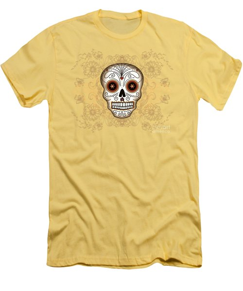 Men's T-Shirt (Slim Fit) featuring the drawing Vintage Sugar Skull by Tammy Wetzel