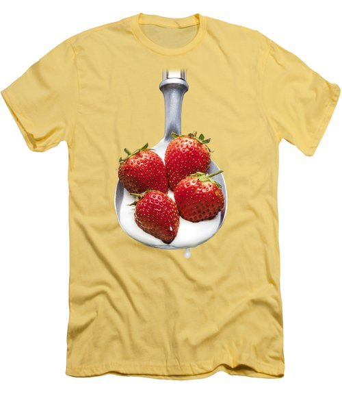 Strawberries N Cream Men's T-Shirt (Slim Fit) by Jon Delorme