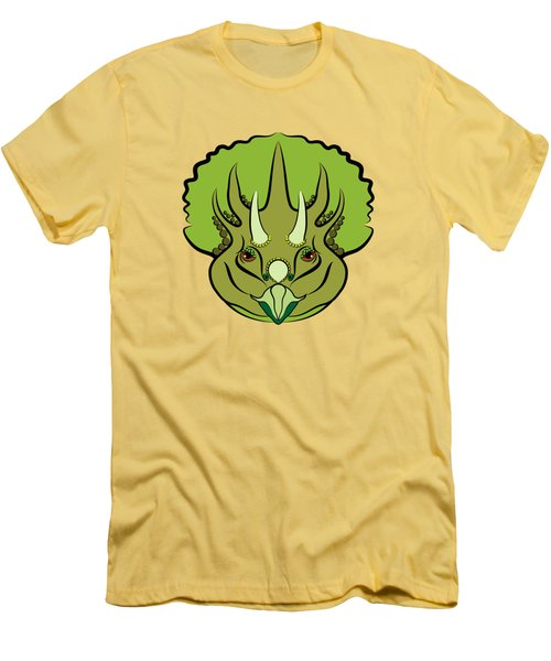 Triceratops Graphic Green Men's T-Shirt (Slim Fit) by MM Anderson