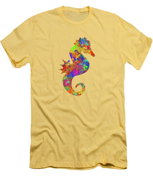 Seahorse Watercolor Art Men's T-Shirt (Slim Fit) by Christina Rollo