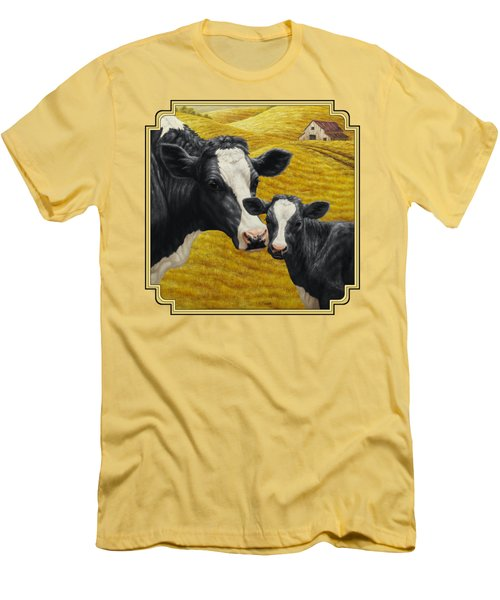 Holstein Cow And Calf Farm Men's T-Shirt (Slim Fit) by Crista Forest