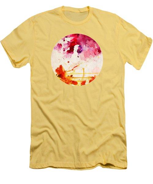 Fuchsia And Orange Color Splash Men's T-Shirt (Athletic Fit)