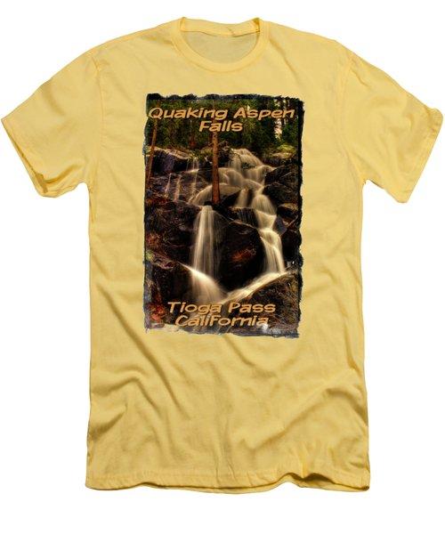 Quaking Aspen Falls Along Tioga Pass  Men's T-Shirt (Slim Fit) by Roger Passman