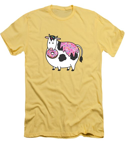 Funny Fat Holstein Cow Sprinkle Doughnut Men's T-Shirt (Athletic Fit)