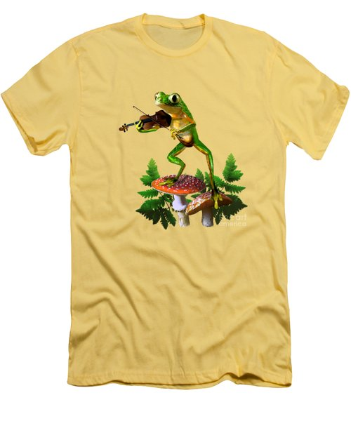 Humorous Tree Frog Playing A Fiddle Men's T-Shirt (Slim Fit) by Regina Femrite