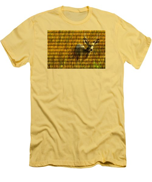 Men's T-Shirt (Slim Fit) featuring the photograph The Buck Poses Here by Bill Kesler