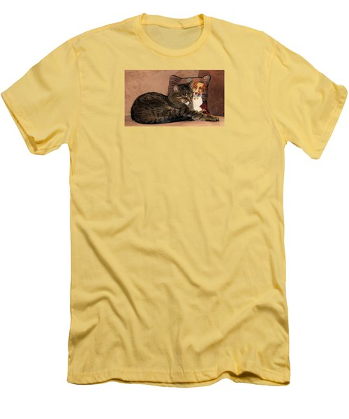 At Least One Thing Dogs Are Good For Men's T-Shirt (Slim Fit) by Angela Davies