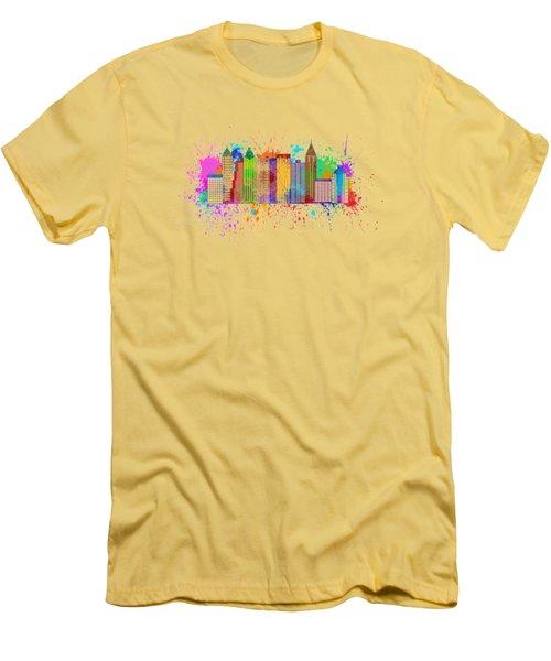Atlanta Skyline Paint Splatter Illustration Men's T-Shirt (Slim Fit) by Jit Lim