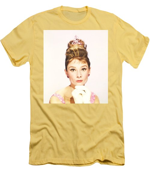 Men's T-Shirt (Athletic Fit) featuring the photograph Audrey Hepburn Breakfast At Tiffanys  by R Muirhead Art