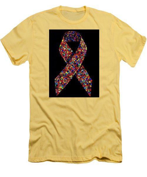 Autism Awareness Ribbon  Men's T-Shirt (Athletic Fit)