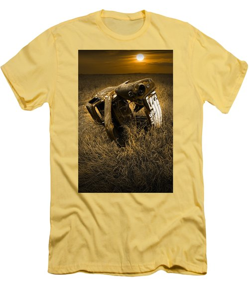 Auto Wreck In A Grassy Field On The Prairie At Sunset Men's T-Shirt (Athletic Fit)