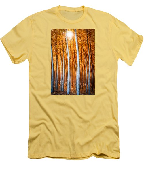 Men's T-Shirt (Slim Fit) featuring the photograph Autumn Canopy Burst by Dan Mihai