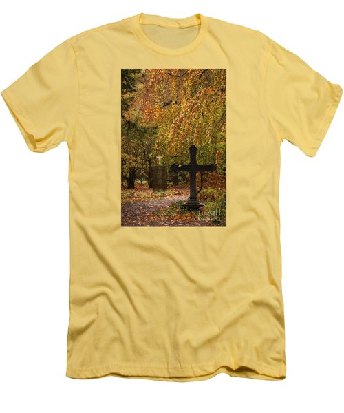 Men's T-Shirt (Slim Fit) featuring the photograph Autumn Cemetary by Inge Riis McDonald