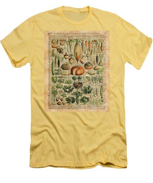 Autumn Fall Vegetables Kiche Harvest Thanksgiving Dictionary Art Vintage Cottage Chic Men's T-Shirt (Slim Fit)