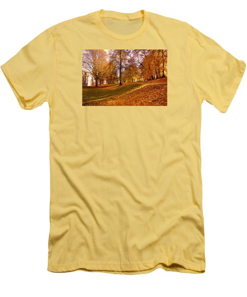 Men's T-Shirt (Slim Fit) featuring the photograph Autumn In The City Park Maastricht by Nop Briex