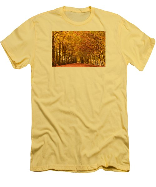 Autumn Lane In An Orange Forest Men's T-Shirt (Slim Fit) by IPics Photography