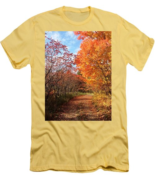 Men's T-Shirt (Slim Fit) featuring the photograph Autumn Lane by Pat Purdy