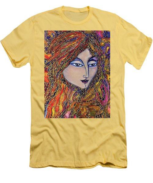 Men's T-Shirt (Slim Fit) featuring the painting Autumn Leaves by Rae Chichilnitsky