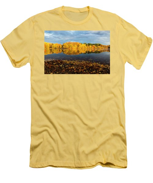 Autumn Morning Reflection On Lake Pentucket Men's T-Shirt (Slim Fit) by Betty Denise
