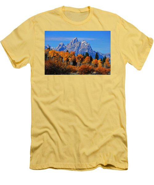 Autumn Peak Beneath The Peaks Men's T-Shirt (Slim Fit) by Greg Norrell