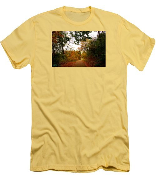 Men's T-Shirt (Slim Fit) featuring the photograph Autumn Trail by Michael Rucker