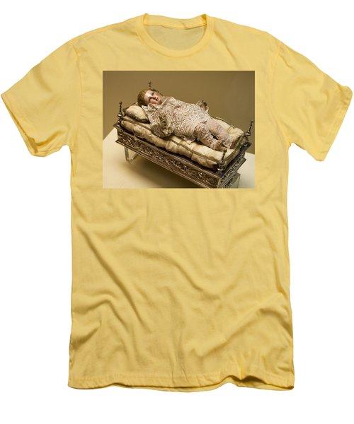 Men's T-Shirt (Slim Fit) featuring the photograph Baby Jesus In Lace by Lorraine Devon Wilke