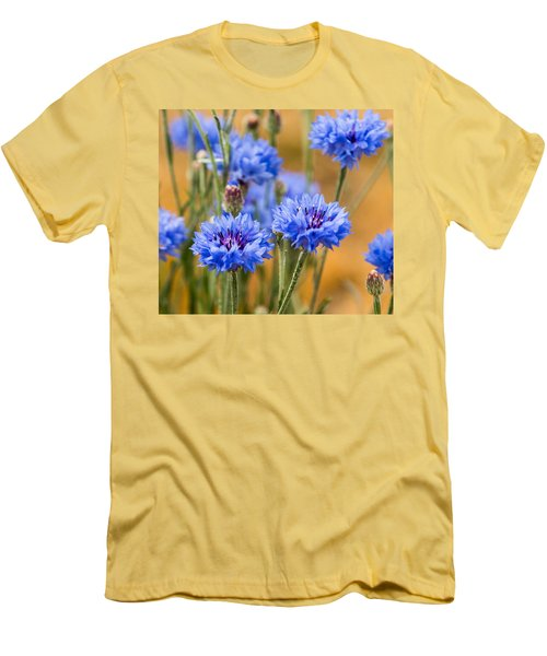 Men's T-Shirt (Slim Fit) featuring the photograph Bachelor Buttons In Blue by E Faithe Lester