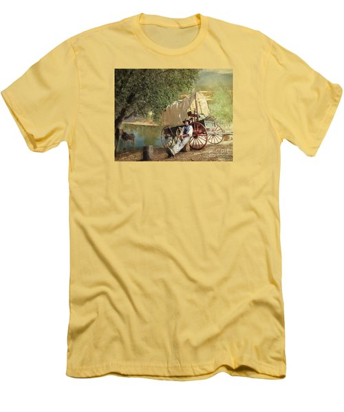 Back Country Camp Out Men's T-Shirt (Slim Fit) by Rhonda Strickland