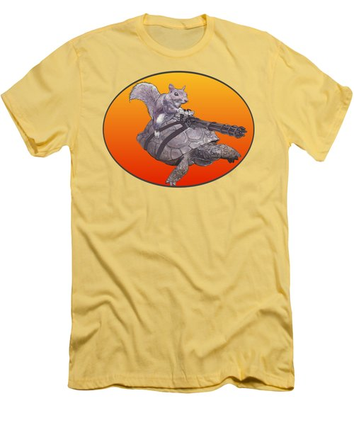 Backyard Modern Warfare Crazy Squirrel Men's T-Shirt (Slim Fit) by David Mckinney