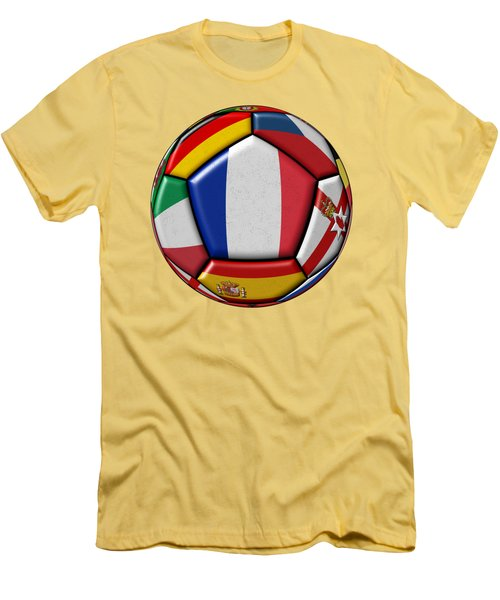 Ball With Flag Of France In The Center Men's T-Shirt (Slim Fit) by Michal Boubin