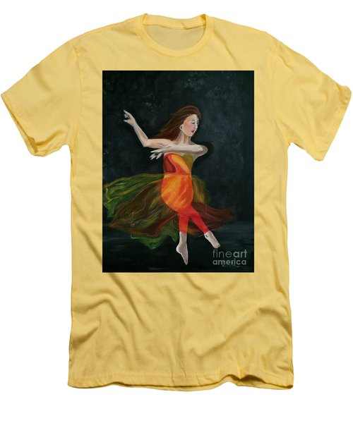 Men's T-Shirt (Slim Fit) featuring the painting Ballet Dancer 2 by Brindha Naveen