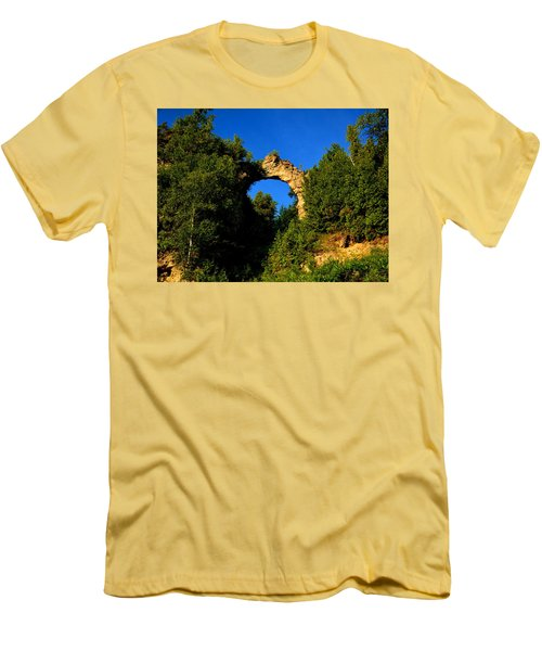 Beneath Arch Rock Men's T-Shirt (Slim Fit) by Keith Stokes