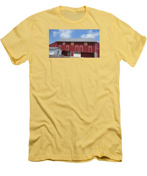 Men's T-Shirt (Slim Fit) featuring the photograph Barn With Hex Signs by Jeanette Oberholtzer