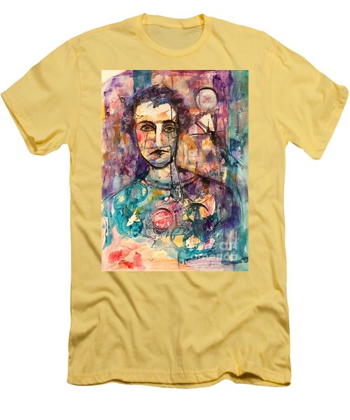 Men's T-Shirt (Slim Fit) featuring the painting Baseball Player by Ellen Anthony