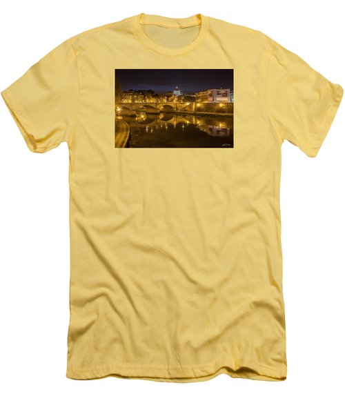 Basilica Over The River Tiber Men's T-Shirt (Slim Fit) by Ed Cilley