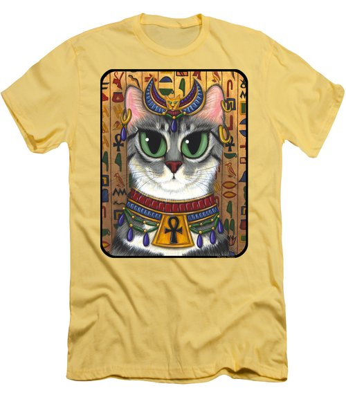 Men's T-Shirt (Athletic Fit) featuring the painting Bast Goddess - Egyptian Bastet by Carrie Hawks