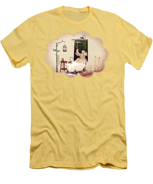 Men's T-Shirt (Slim Fit) featuring the digital art Bath Time by Methune Hively