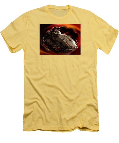 Men's T-Shirt (Slim Fit) featuring the digital art Battlestar Galactica Emerges From The Stargate by Mario Carini
