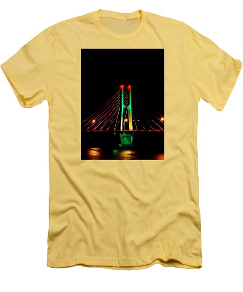 Bay View Christmas Lights Men's T-Shirt (Slim Fit) by Justin Moore