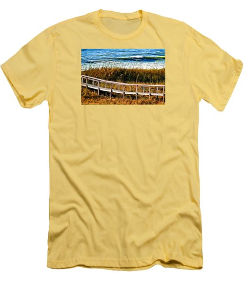 Men's T-Shirt (Slim Fit) featuring the photograph Beach Boardwalk by Laura Ragland