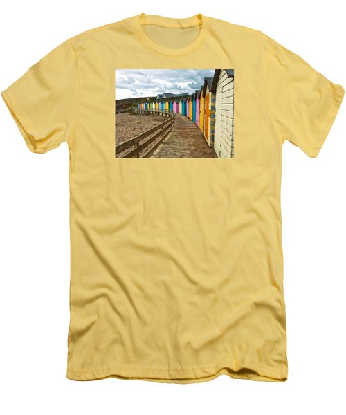 Men's T-Shirt (Slim Fit) featuring the photograph Beach Huts by RKAB Works