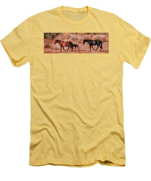 Beach Ponies - Wild Horses In The Dunes Men's T-Shirt (Slim Fit) by Bonnie Mason