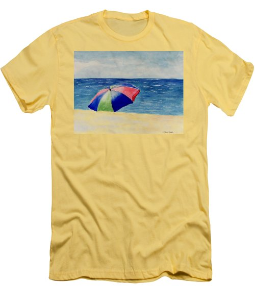 Men's T-Shirt (Slim Fit) featuring the painting Beach Umbrella by Jamie Frier
