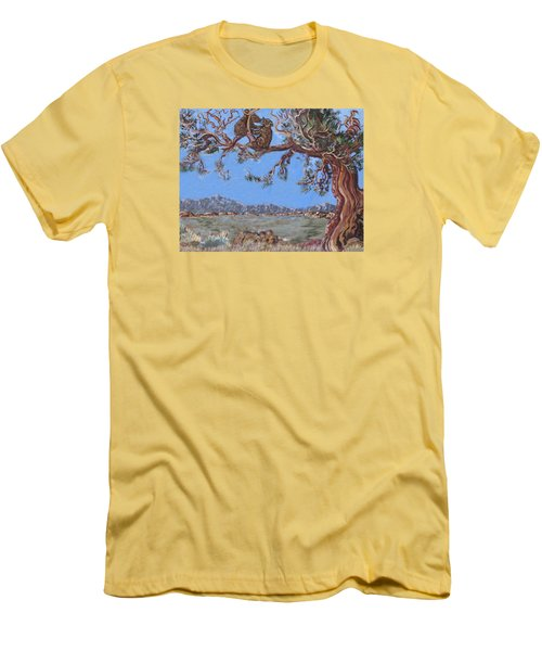 Men's T-Shirt (Slim Fit) featuring the painting Bear Cubs In Cedar by Dawn Senior-Trask