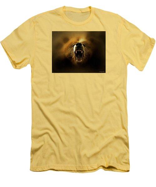 Bear Roar Men's T-Shirt (Slim Fit) by Lilia D